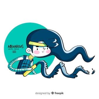 Mão desenhada guerreiro aquarius personagem
