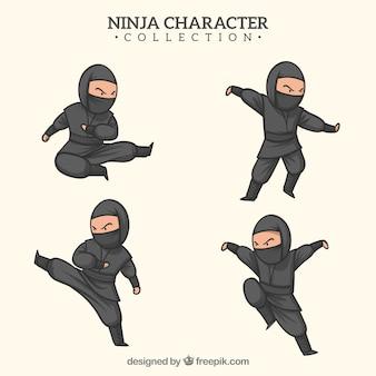 Mão desenhada guerreiro ninja em poses diferentes