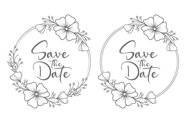 Mão desenhada guirlanda floral mínima de casamento e monograma de casamento com crachá de casamento