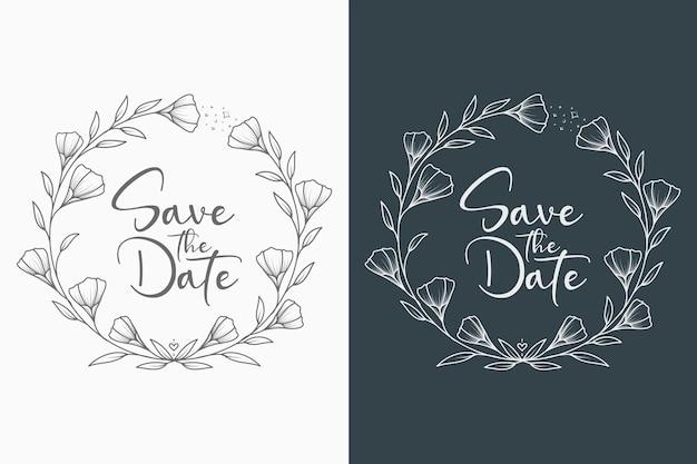 Mão desenhada guirlanda floral mínima de casamento e monograma de casamento