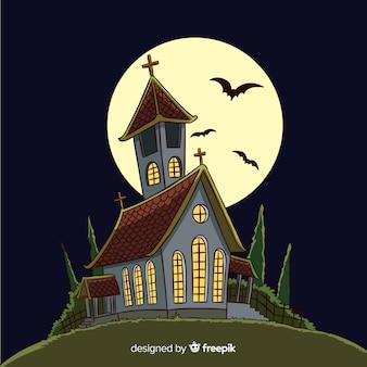 Mão desenhada halloween casa assombrada