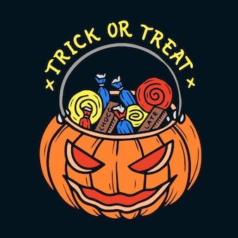 Mão desenhada halloween doce ou travessura saco abóbora ilustração