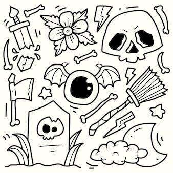 Mão desenhada halloween doodle cartoon ilustração desenho para colorir