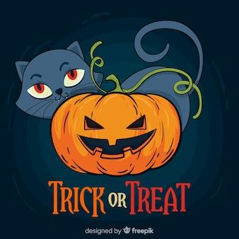 Mão desenhada halloween gato doce ou travessura