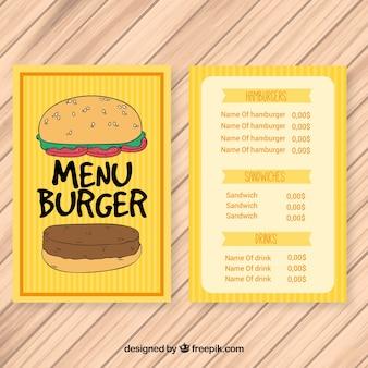 Mão desenhada hambúrguer menu amarelo