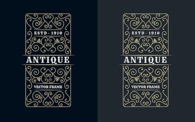 Mão desenhada herança luxo royal vintage retro moldura decorativa para texto e tipografia