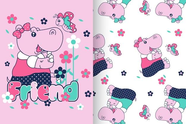 Mão desenhada hipopótamo fofo com padrão vector set