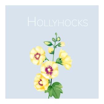 Mão desenhada hollyhocks amarelo ilustração de flor