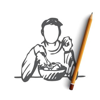 Mão desenhada homem comendo