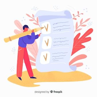 Mão desenhada homem verificando a ilustração de lista de verificação gigante