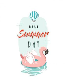 Mão desenhada horário de verão divertido ilustração com anel de boia flamingo rosa em tons pastel e citação de tipografia moderna melhor dia de verão isolado