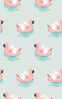 Mão desenhada horário de verão divertido padrão sem emenda com círculo de bóia piscina boia flamingo rosa isolado