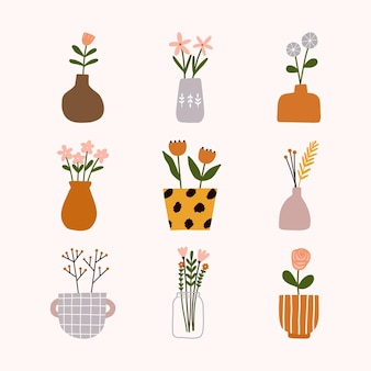 Mão desenhada hygge escandinavo floral pote, vaso, jarro ou frascos de frasco com buquê.