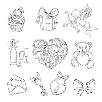 Mão desenhada ícones de dia dos namorados.