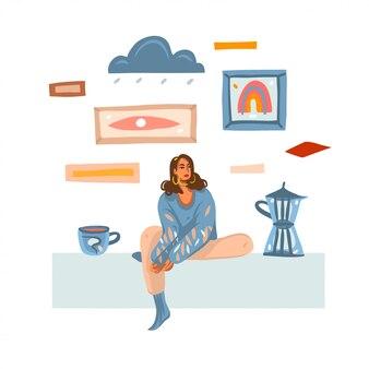Mão desenhada ilustração abstrata com fêmea melancólica jovem fazendo e tomando café em casa, isolado no fundo branco