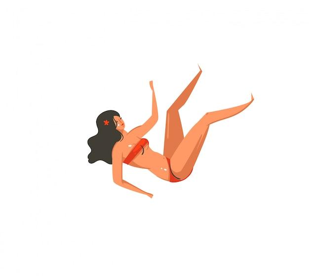 Mão desenhada ilustração abstrata das horas de verão dos desenhos animados com personagens de garota caindo na praia no fundo branco