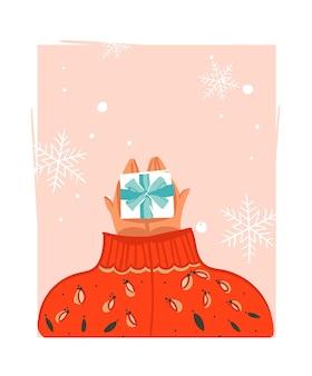 Mão desenhada ilustração abstrata dos desenhos animados do feliz natal
