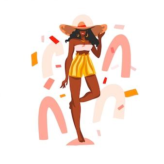 Mão desenhada ilustração com preto jovem feliz, beleza feminina em traje de banho e praia chapéu sobre fundo de forma branca colagem