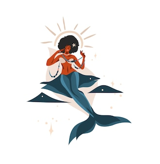 Mão desenhada ilustração com signo astrológico do zodíaco peixes com beleza mágica sereia afro-americana, feminino