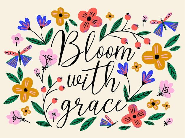 Mão desenhada ilustração criativa de flores e borboletas com citação de letras
