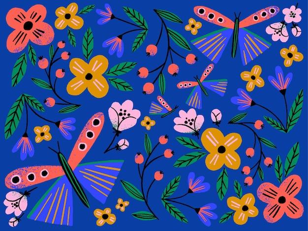 Mão desenhada ilustração criativa de flores e borboletas