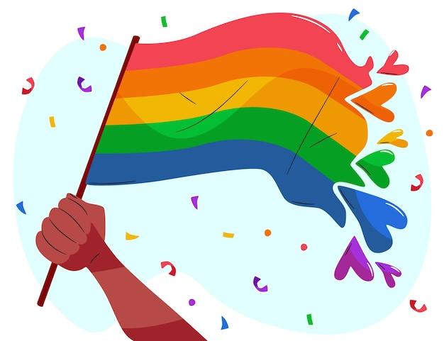 Mão desenhada ilustração da bandeira do dia do orgulho