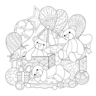 Mão desenhada ilustração da festa de urso de pelúcia