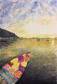Mão desenhada ilustração de barco em aquarela dentro do rio e do mar