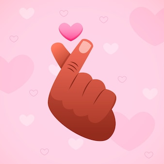 Mão desenhada ilustração de coração de dedo
