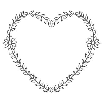Mão desenhada ilustração de coração floral para decoração