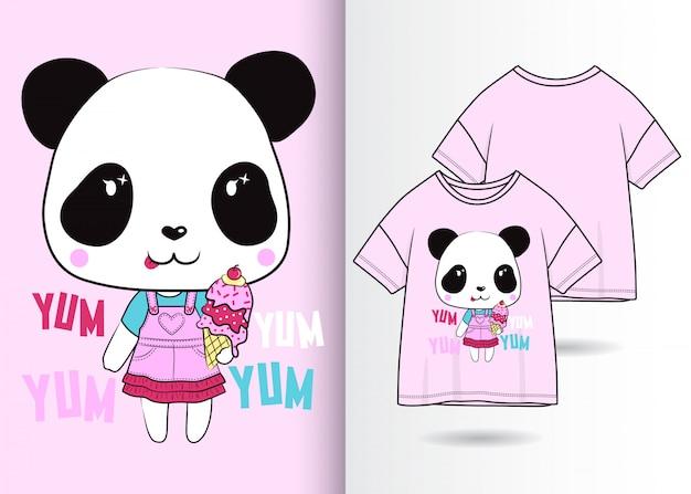 Mão desenhada ilustração de creme panda bonito com design de camisa de t