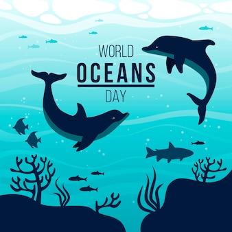 Mão desenhada ilustração de dia mundial dos oceanos