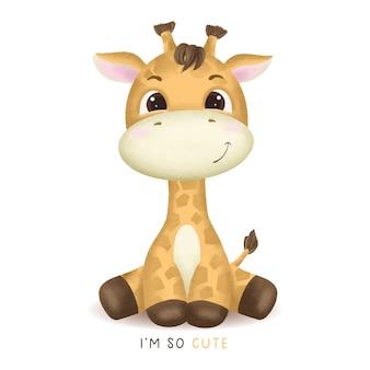 Mão desenhada ilustração de girafa bebê fofo