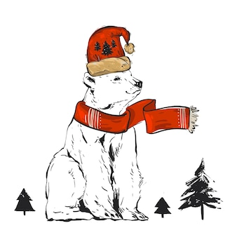 Mão desenhada ilustração de natal com urso polar branco do pólo norte com chapéu de papai noel vermelho e árvore de natal isolada