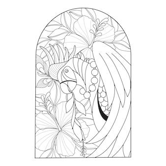Mão desenhada ilustração de papagaio e flor