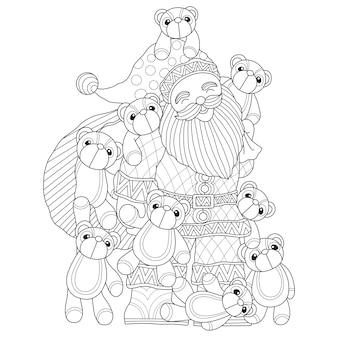 Mão desenhada ilustração de papai noel e boneca de urso de pelúcia