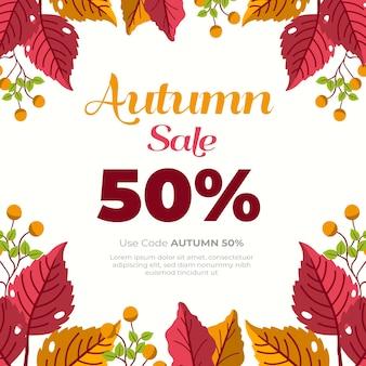 Mão desenhada ilustração de venda de outono com oferta especial