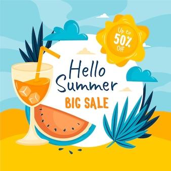 Mão desenhada ilustração de venda de verão
