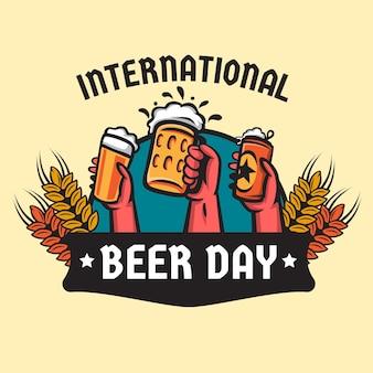 Mão desenhada ilustração do dia internacional da cerveja