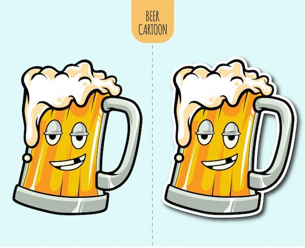 Mão desenhada ilustração dos desenhos animados de cerveja com opção de design de etiqueta