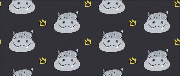 Mão desenhada ilustração em vetor padrão sem emenda de um hipopótamo engraçado bonito