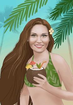 Mão desenhada ilustração garota havaiana com coquetel de coco