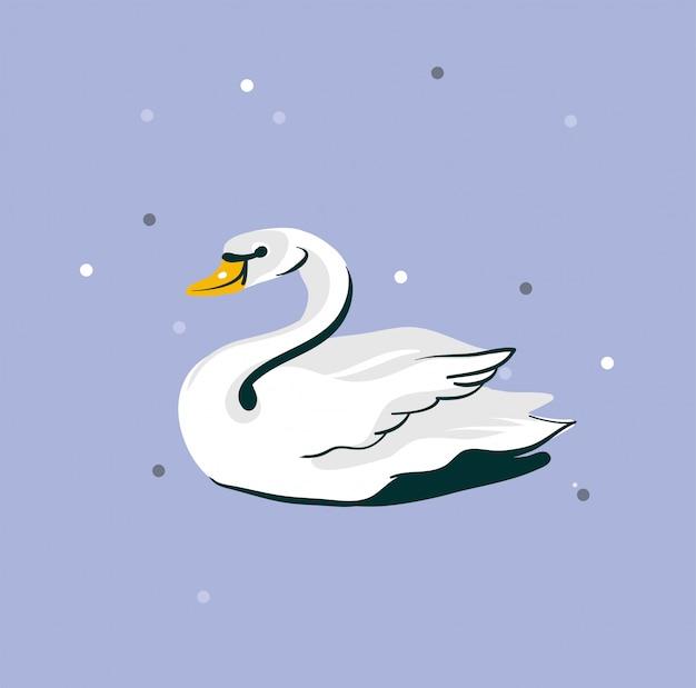 Mão desenhada ilustração gráfica abstrata com cisne branco lindo casamento em fundo roxo