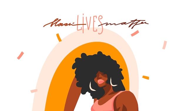 Mão desenhada ilustração gráfica abstrata com jovem negra afro americana, beleza feminina e preto vidas matéria letras manuscritas isoladas no fundo de forma de colagem de cor.