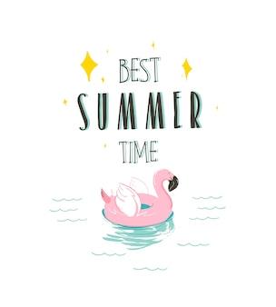 Mão desenhada ilustração gráfica abstrata com um flamingo, anel de flutuação de borracha de natação e melhor citação de horário de verão na paisagem de ondas do oceano, isolada no fundo branco.