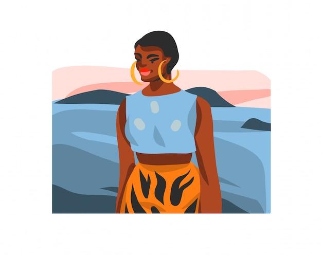 Mão desenhada ilustração gráfica conservada em estoque com a fêmea jovem feliz beleza negra, na vista de cena de praia ao pôr do sol no fundo branco