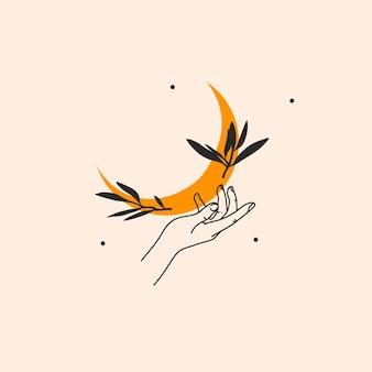 Mão desenhada ilustração gráfica de estoque abstrato com elemento de logotipo