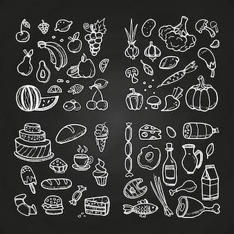 Mão desenhada ilustração healhty e fast food
