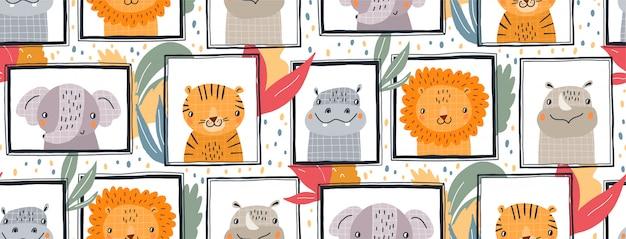 Mão desenhada ilustração padrão sem emenda de animais fofos em quadros.