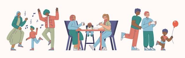 Mão desenhada ilustração plana de cenas familiares